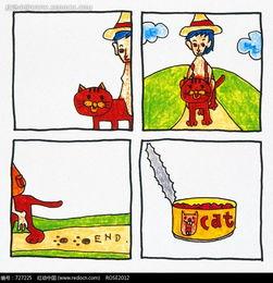 儿童和猫四格漫画图片 727225 人物卡通 漫画插画