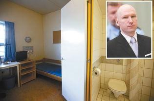 ...(右上)的希恩监狱的监室-杀人狂嚣张坚持极右翼主张 其胜诉令挪...