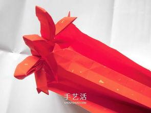 ...用一张纸 折纸蝴蝶结礼品盒的图解步骤 2