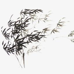 手绘竹子背景水墨中国风手绘插画竹子竹林树水彩秋天的竹叶水墨竹林...