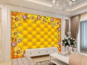 3d奢华金色珠宝水晶欧式软包电视背景墙