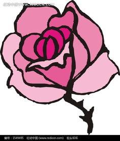 花草树木简笔画-一朵美丽的紫色花朵矢量图EPS素材免费下载 编号...