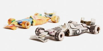 欧元和美元创意折纸作品:F1赛车-各国钱币折纸欣赏 欧元和美元创意...