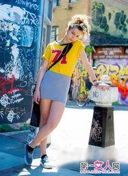 免播放器情色-黄色印数字logoT恤+灰色包臀裙-街头潮T疯狂来袭 运动时尚两不误