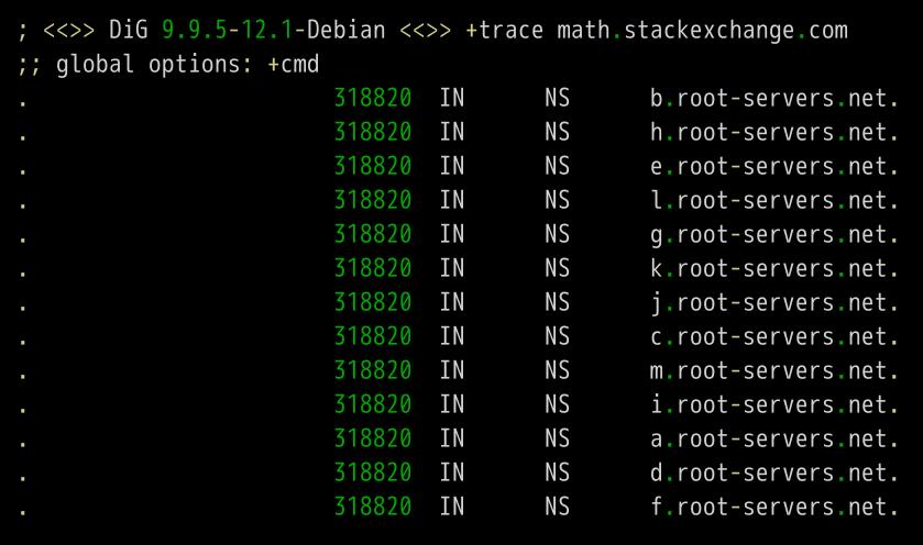 询问math.stackexchange.com的顶级域名服务器com.的NS记录.最先...