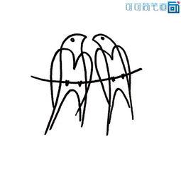 一对小燕子的简单画法