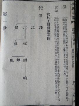 此图为《李氏宗谱--唐太宗五太子世系图》-武汉卸甲李姓始祖茂七公考据