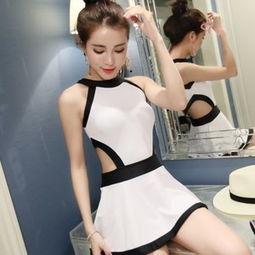 韩国泳衣少女涂鸦连体平角裙式钢托大小胸聚拢遮肚显瘦保守游泳装