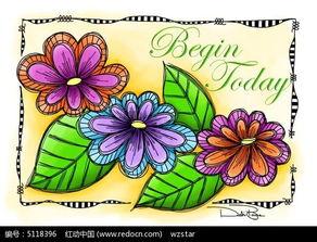 彩色花朵黑白边框插图图片免费下载 编号5118396 红动网