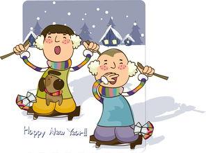 孝顺-雪地上的卡通儿童矢量图片 图片ID 95545 其他人物 矢量素材 聚...