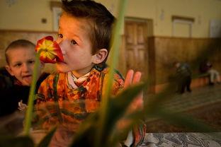 污一点的网名男生-...一名智力缺陷的男孩正在享受花儿的芳香.出生于辐射污染区的孩...