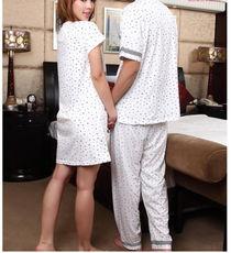 2件包邮新款夏季情侣套装薄款短袖可爱家居印花碎花小点甜蜜套装