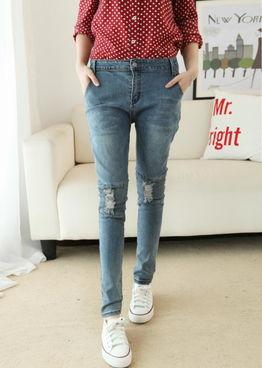 2014秋季新品个性膝盖破洞显瘦哈伦小脚牛仔裤