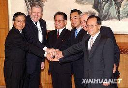 ...王毅(右三)、朝鲜外务省副相金永日(左三)、美国助理国务卿凯...