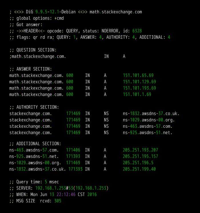 域名math.stackexchange.com的A记录,A是address的缩写.   第三段...