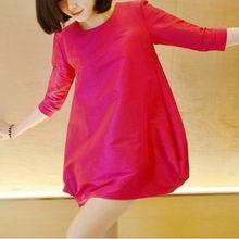 ...装韩版宽松时尚孕妇装 孕妇七分袖连衣裙灯笼袖娃娃衫孕妇裙
