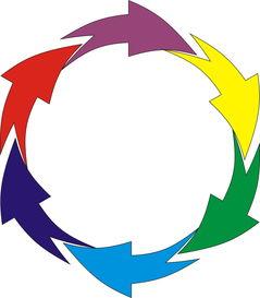 ...elDRAW CDR里 7个箭头环形循环 怎么 做