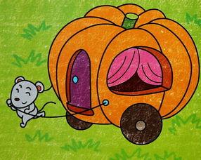 小老鼠拉南瓜车 幼儿蜡笔画作品