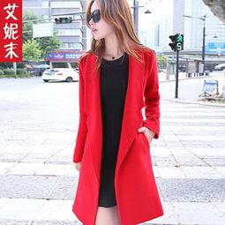 ...款韩版女装宽松中长款风衣外套女百搭毛呢大衣潮