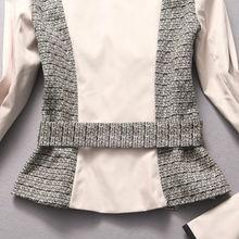 ...正品大牌 时尚走秀款拼色系 高端职业西装女裙套装