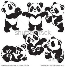 集卡通熊猫,黑白图像的小孩子-即使是小孩子在自家的小区里骑车