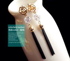 3件包邮 出口饰品首饰 韩国订单高品质18K镀金玫瑰花流苏个性耳环