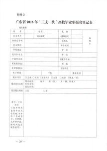 广东省2016年 三支一扶 高校毕业生报名登记表
