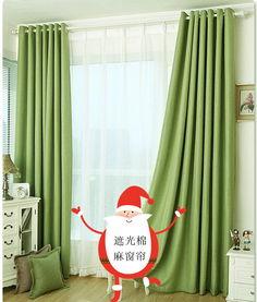 ...绿色棉麻全遮光窗帘