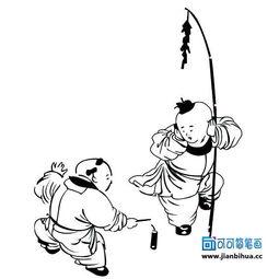 古代小孩放鞭炮简笔画