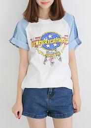 ...rcycle拼牛仔韩版女装短袖t恤上衣-短袖大短袖