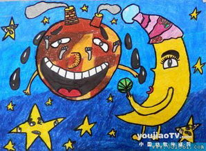 环保地球 儿童画蜡笔画作品