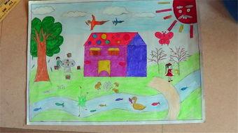 欢度春节的儿童画美术绘画
