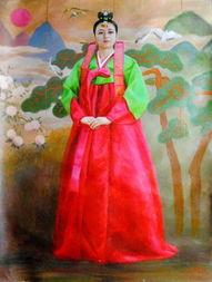 ...秀丽 油画中的朝鲜清新美女