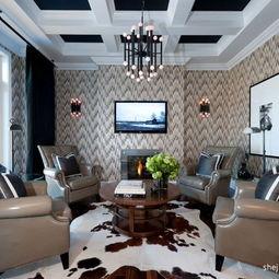 现代风格四居室客厅壁纸电视背景墙装修效果图-客厅电视背景墙壁纸...