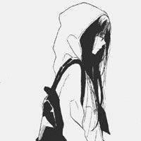 二次元动漫女头像黑白图片