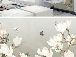 手绘中式玉兰花背景墙装饰画