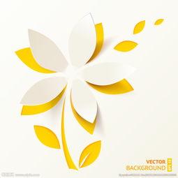 白色剪纸花朵矢量素材图片