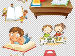 可爱卡通读书学习儿童PNG透明素材图片下载png素材
