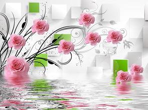 ...立体粉玫瑰倒影花藤电视背景墙大型壁画