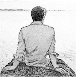 素描 孤独男孩背影 图片