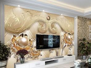 豪华欧式立体珠宝花朵软包电视背景墙图片设计素材 高清模板下载 188...