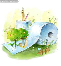 ...环保绘画 环保卡通画 环保图片素材 环保素材 儿童绘画 可爱 保护树木...