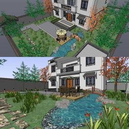 sketchup中式庭院花园景观模型图片下载max素材 其他模型