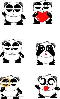 熊猫烧香qq表情矢量图