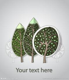 树木艺术剪纸矢量素材图片