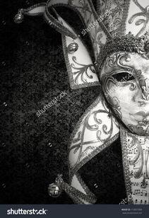 ...美丽豪华威尼斯面具在黑色和白色