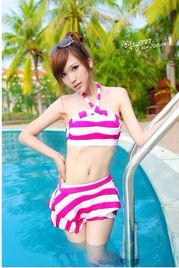 2012可爱韩国少女泳衣 胸垫分体裙式 平角保守泳装女