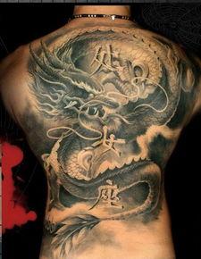 孽龙刺青-满背龙纹身图案