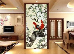 客厅电视背景墙瓷砖玄关图双喜临门喜鹊图