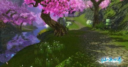 的是桃树繁茂、桃花灿烂的景象.桃花是《仙侠世界》里出场率最高的...
